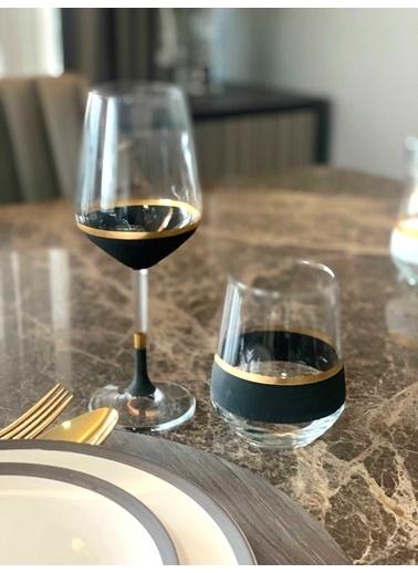 The Mia Glow Şarap Kadehi 6 Lı Set Siyah & Gold Siyah